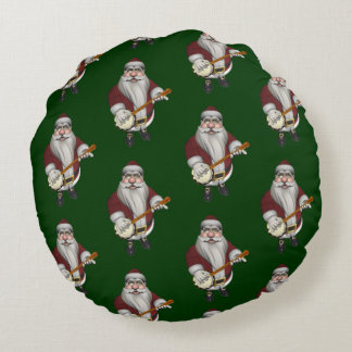 Musical Santa Claus Loves To Play Banjo Round Pillow
