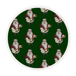 Musical Santa Claus Loves To Play Banjo Edible Frosting Rounds