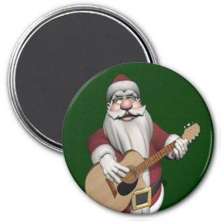 Musical Santa Claus Playing Christmas Songs 3 Inch Round Magnet