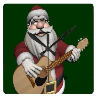 Musical Santa Claus Playing Christmas Songs Square Wall Clock