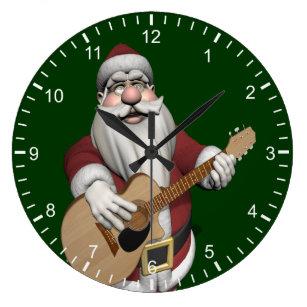 musical santa claus playing christmas songs large clock - Musical Christmas Clock