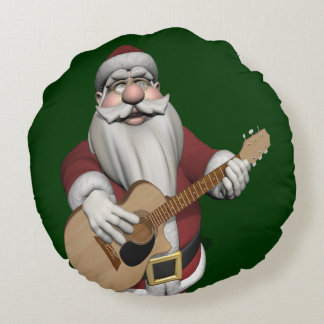 Musical Santa Claus Playing Christmas Songs Round Pillow