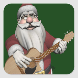 Musical Santa Claus Playing Christmas Songs Square Sticker