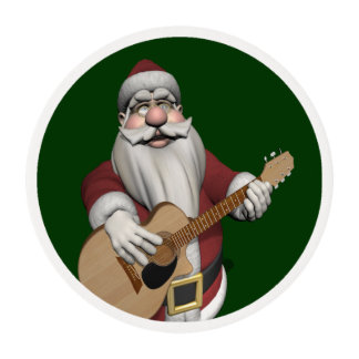 Musical Santa Claus Playing Christmas Songs Edible Frosting Rounds
