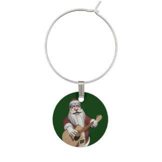 Musical Santa Claus Playing Christmas Songs Wine Glass Charm