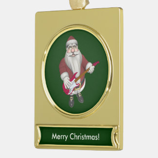 Musical Santa Claus With Red Electric Guitar Gold Plated Banner Ornament