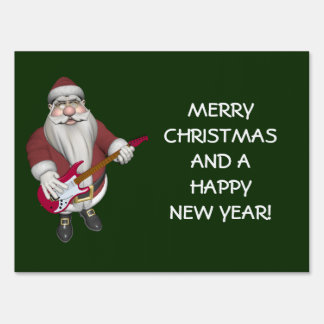 Musical Santa Claus With Red Electric Guitar Yard Signs