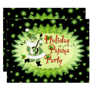 Musical Santa Elf Pajama Party Invitations
