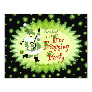 Musical Santa Elf Tree Trimming Party Invitations