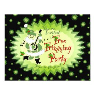 Musical Santa Elf Tree Trimming Party Invitations