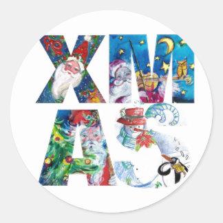 MUSICAL SANTA  XMAS PARTY / PENGUIN'S SERENADE CLASSIC ROUND STICKER