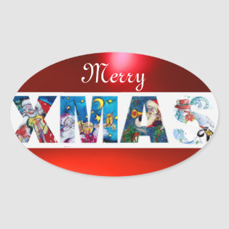 MUSICAL SANTA  XMAS PARTY / PENGUIN'S SERENADE OVAL STICKER