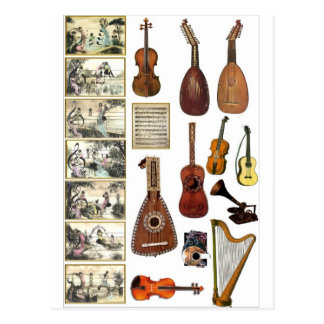 Musical scenes and instruments postcard