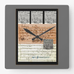 Musical Score collage wall clock