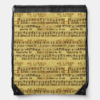 Musical Score Notation Old Paper Design Drawstring Bag