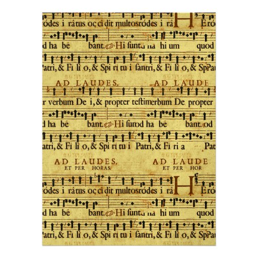 Musical Score Notation Old Paper Design Custom Invite