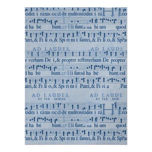 Musical Score Old Blue Paper Design Personalized Invites