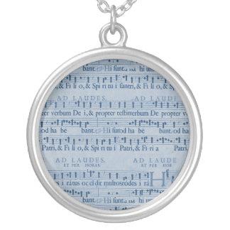 Musical Score Old Blue Paper Design Pendant