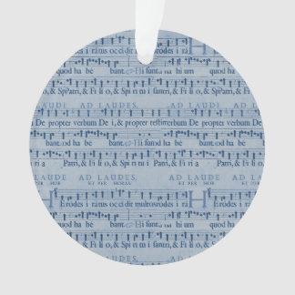 Musical Score Old Blue Paper Design Ornament