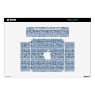 Musical Score Old Blue Paper Design Mac Mini Skins