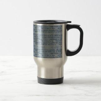 Musical Score Old Blue Paper Design Travel Mug