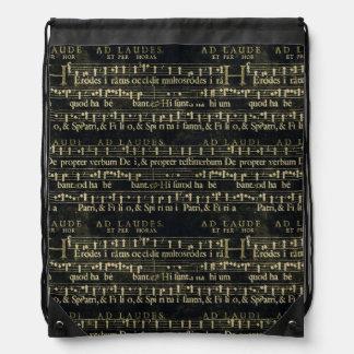 Musical Score Old Chalkboard Design Drawstring Backpack