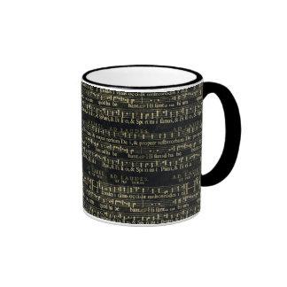 Musical Score Old Chalkboard Design Ringer Coffee Mug