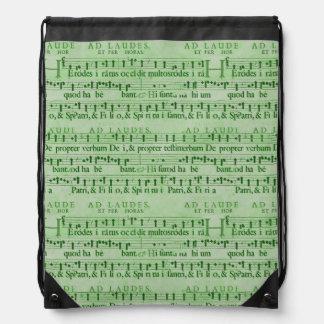 Musical Score Old Green Paper Design Drawstring Bag