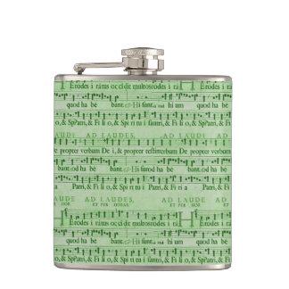 Musical Score Old Green Paper Design Hip Flasks