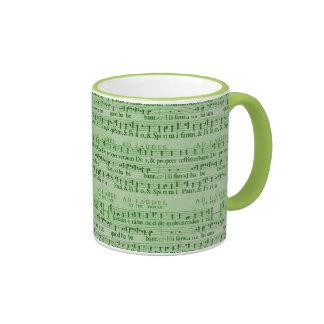 Musical Score Old Green Paper Design Ringer Coffee Mug
