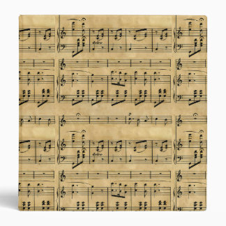 Musical Score Old Parchment Paper Design 3 Ring Binder
