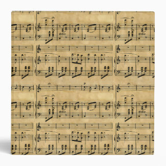 Musical Score Old Parchment Paper Design 3 Ring Binders