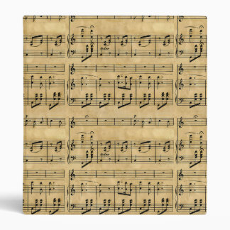 Musical Score Old Parchment Paper Design Binder