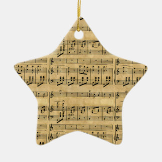 Musical Score Old Parchment Paper Design Ceramic Ornament