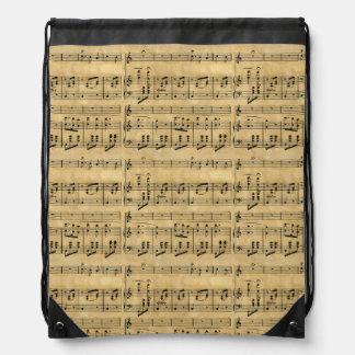 Musical Score Old Parchment Paper Design Drawstring Bag