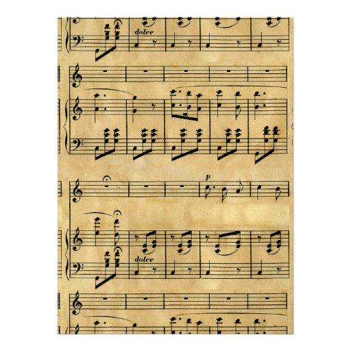 Musical Score Old Parchment Paper Design Personalized Invites
