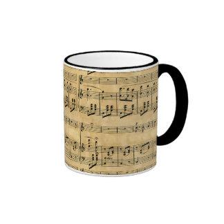 Musical Score Old Parchment Paper Design Ringer Coffee Mug