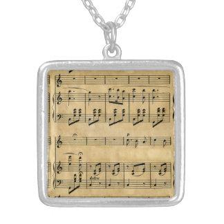 Musical Score Old Parchment Paper Design Custom Necklace