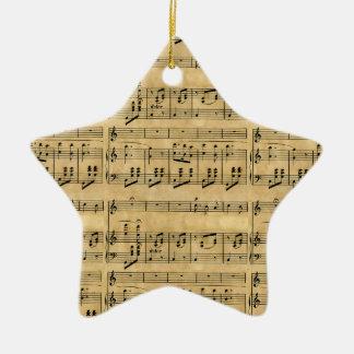 Musical Score Old Parchment Paper Design Ornament