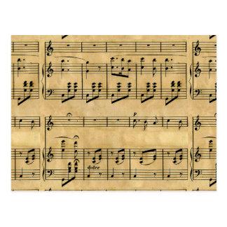 Musical Score Old Parchment Paper Design Postcard