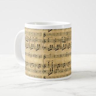 Musical Score Old Parchment Paper Design 20 Oz Large Ceramic Coffee Mug