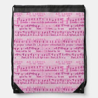 Musical Score Old Pink Paper Design Drawstring Backpack