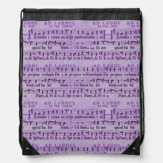 Musical Score Old Purple Paper Design Drawstring Backpack