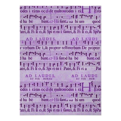 Musical Score Old Purple Paper Design Invitations