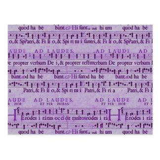 Musical Score Old Purple Paper Design Postcard