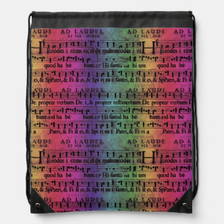 Musical Score Old Rainbow Paper Design Drawstring Backpack