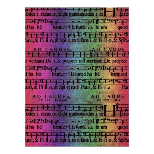 Musical Score Old Rainbow Paper Design Personalized Invite