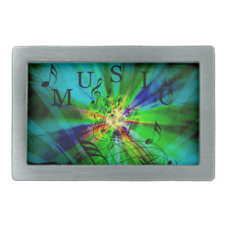 Musical Score on an Abstract Background Rectangular Belt Buckle