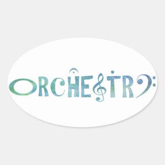 Musical Scrip Orchestra Oval Sticker