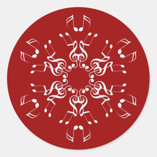 Musical Snowflake Classic Round Sticker